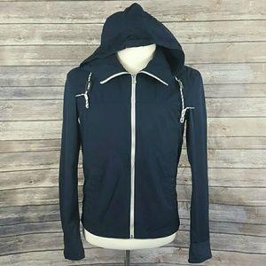 Uniqlo Navy Nautical Zip Up Jacket w/ Hood XS